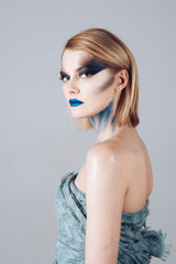 Sexy girl with fashion makeup. Halloween. Beauty salon and hairdresser. Makeup cosmetics and skincare. Hair loss and care. Sexy woman with fashion makeup. Beauty and fashion. Confident beauty