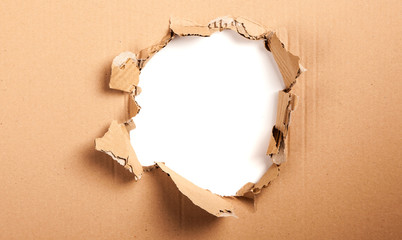 Fotoväggar - Cardboard with a hole - white background