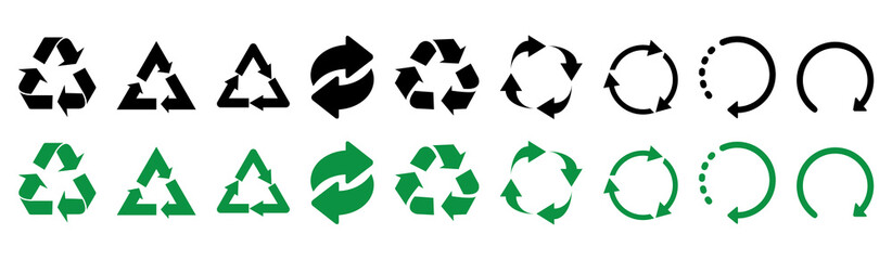 Recycle icons. Set of black and green recycle icons