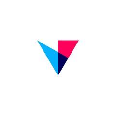 v letter overlapping logo vector icon