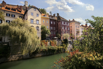 The picturesque houses of Lubiana and the Ljubljanica river, Slovenia, Europe