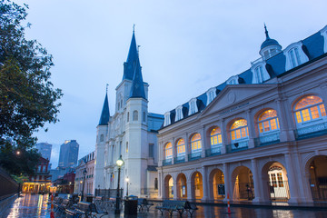 St. Louis Cathedral and Louisiana State Museum at French Quarter in New Orleans, Louisiana, USA.