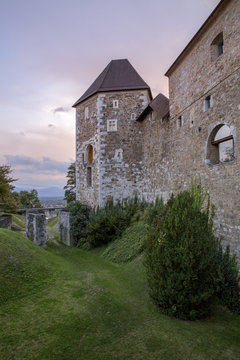 The castle of Lubiana at twigliht, Slovenia, Europe
