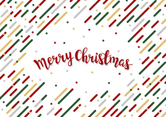 Merry Christmas templates memphis style geometric pattern. Colorful background with lines, circles, squares and copy space. Vector Illustration.