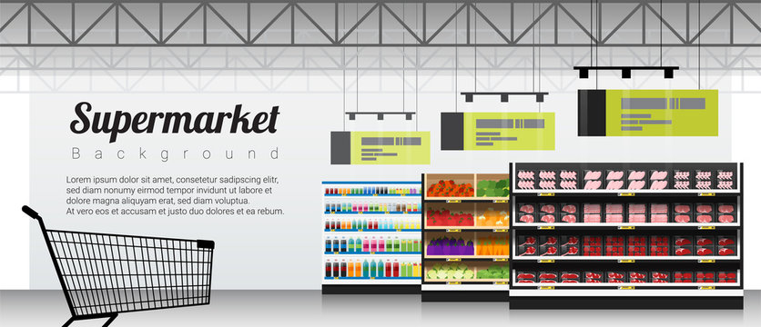 Modern supermarket with products and shopping cart background , vector , illustration