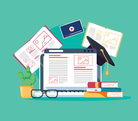 Online tutoring concept. E-books, internet courses process. Vector illustration. Staff education, consulting college