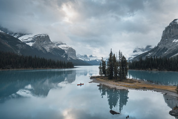 Photo on textile frame Dark grey Spirit Island - Alberta - Maligne Lake