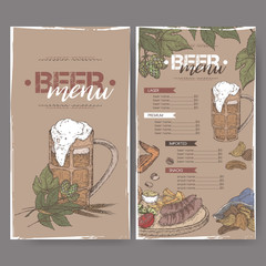 Beer menu color template with beer mug, hop branch, wheat, chips, nuts, chicken wings and snack plate.