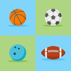 Set of sports balls flat style icons. Basketball, football, soccer and bowling balls. Vector illustration.