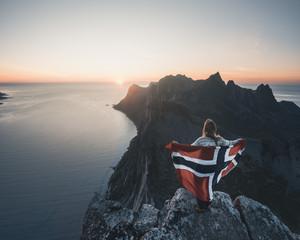 Midnight sun on a mountain in Norway