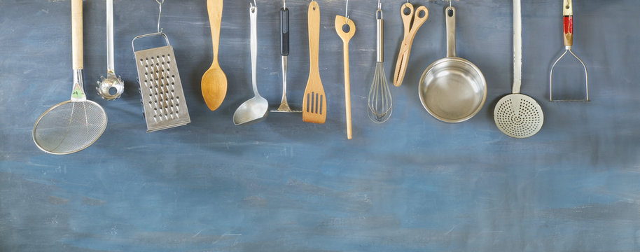 Kitchen utensils for commercial kitchen, restaurant cooking, food and drink, kitchen concept.