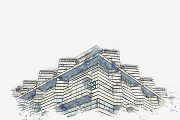 A watercolor sketch or an illustration. A symmetrical snapshot of a building corner with lots of windows.