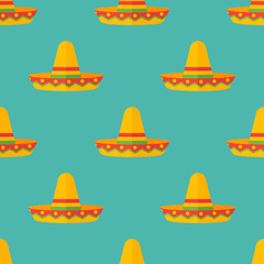 Seamless pattern with mexican sombrero hats on teal background. Vector texture.