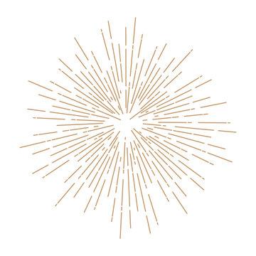 Vintage sunburst design element gold color on white background.