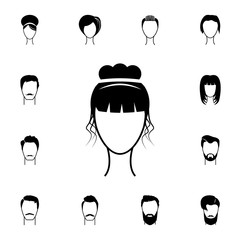 female hairstyle icon. Detailed set of hairstyles at the hairdresser icons. Premium quality graphic design icon. One of the collection icons for websites, web design