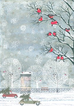 Composition from watercolor background with snowflakes and vector flock of bullfinches perching on the branches of a trees, advertising column, cars with christmas trees on top, snow, trees, fence