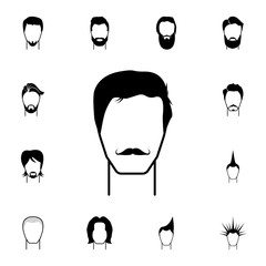 masculine hairstyle and mustache icon. Detailed set of hairstyles at the hairdresser icons. Premium quality graphic design icon. One of collection icons for websites, web design