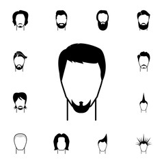 male hairstyle and beard icon. Detailed set of hairstyles at the hairdresser icons. Premium quality graphic design icon. One of the collection icons for websites, web design