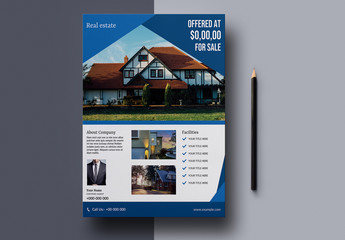 Business Flyer Layout with Blue Elements
