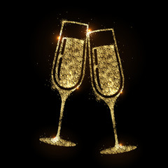 Champagne glass vector icon. Golden sparkle champagne glasses on black background