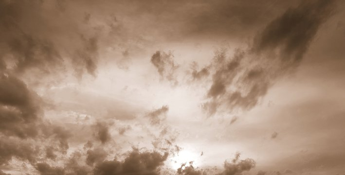 Dramatic clouds with sepia filter