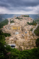 sicily village against a dramatic sky