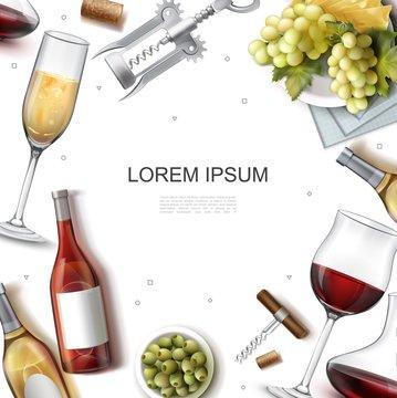 Realistic Wine Template