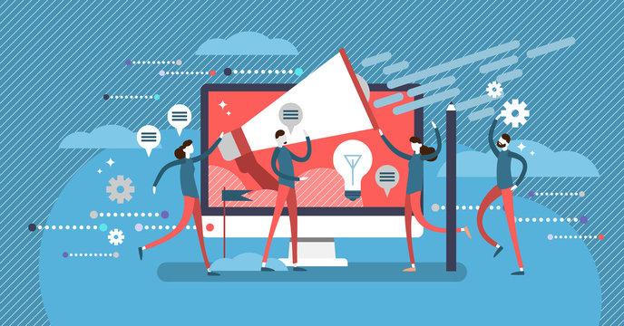 Public relations teamwork concept, flat vector illustration poster