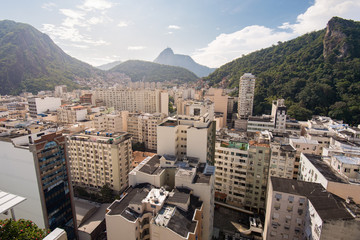 Aerial View of Buildings in Rio de Janeiro With the Corcovado Mountain in the Horizon