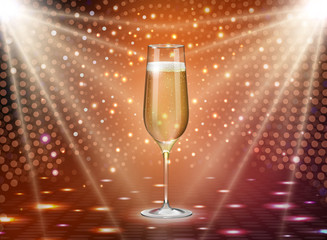 Realistic vector illustration of champagne glass on holiday golden disco background