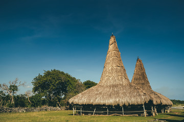 "Straw roof hut, traditional Sumba village. Indonesia. The authentic Sumbanese houses ""Ratenggaro"" on the blue sky background. Ethnic tribal architecture in the local village. South East Asia."