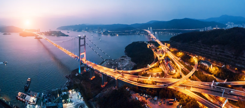 Tsing Ma Bridge at sunset in Hong Kong.