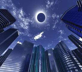 Eclipse over skyscrapers, modern city on eclipse,