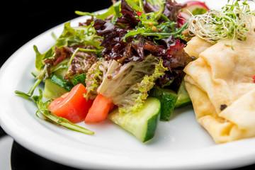 Savoury Buckwheat Pancakes with Cherry Tomatoes, Rocket Salad, Spinach, Parma Ham,