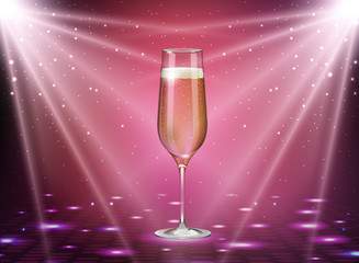 Realistic vector illustration of champagne glass on holiday pink disco background