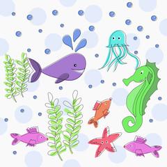 Sea life cute marine animals