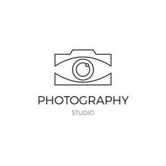 Vector thin line icon, camera silhouette. Logo template.
