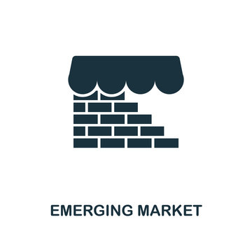 Emerging Market icon. Monochrome style design from fintech icon collection. UI and UX. Pixel perfect emerging market icon. For web design, apps, software, print usage.