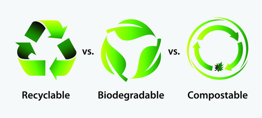 recycle, biodegradable, and compostable concept or reduce reuse recycle concept. easy to modify