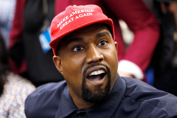 Rapper Kanye West speaks during a meeting with President Trump in the Oval Office at the White House in Washington