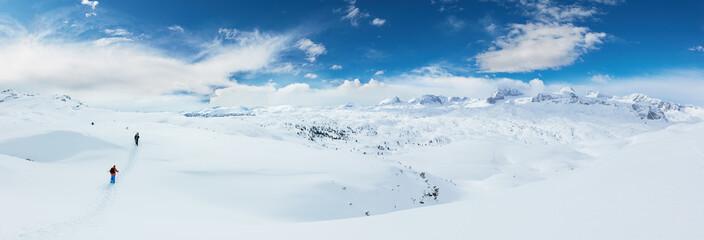 Group of skialpinists walking in Alpine landscape
