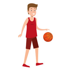young man practicing basketball