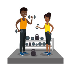 couple athletes practicing weight lifitng in the gym