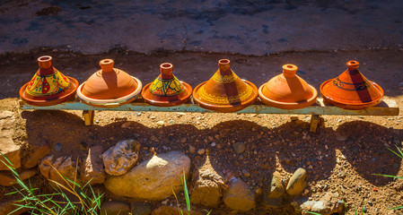 Traditional tagine plates in Kasbah Ait Ben Haddou, Morocco