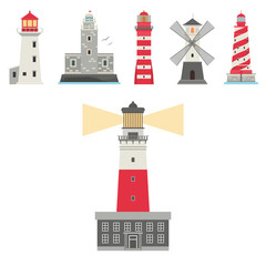 Lighthouses vector flat searchlight towers for maritime navigation guidance ocean beacon light safety security symbol illustration.