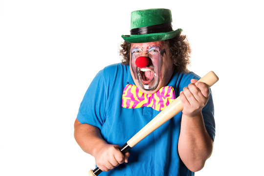 Dangerous clown. Funny fat man. White background.