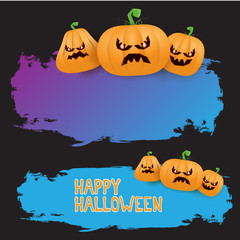 Halloween web violet grunge Banner or poster with Halloween scary pumpkins isolated on black background . Funky kids Halloween ultra violet banner with space for greeting text or sale