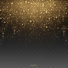 Christmas Glow light effect. Star burst with sparkles. Golden glowing lights. Gold glittering star dust trail sparkling particles on transparent background. EPS10