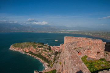 View of island and Bourtzi fortress from Nafplion on Peloponnese, Greece