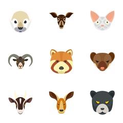 Wild animal icon set. Flat set of 9 wild animal vector icons for web design